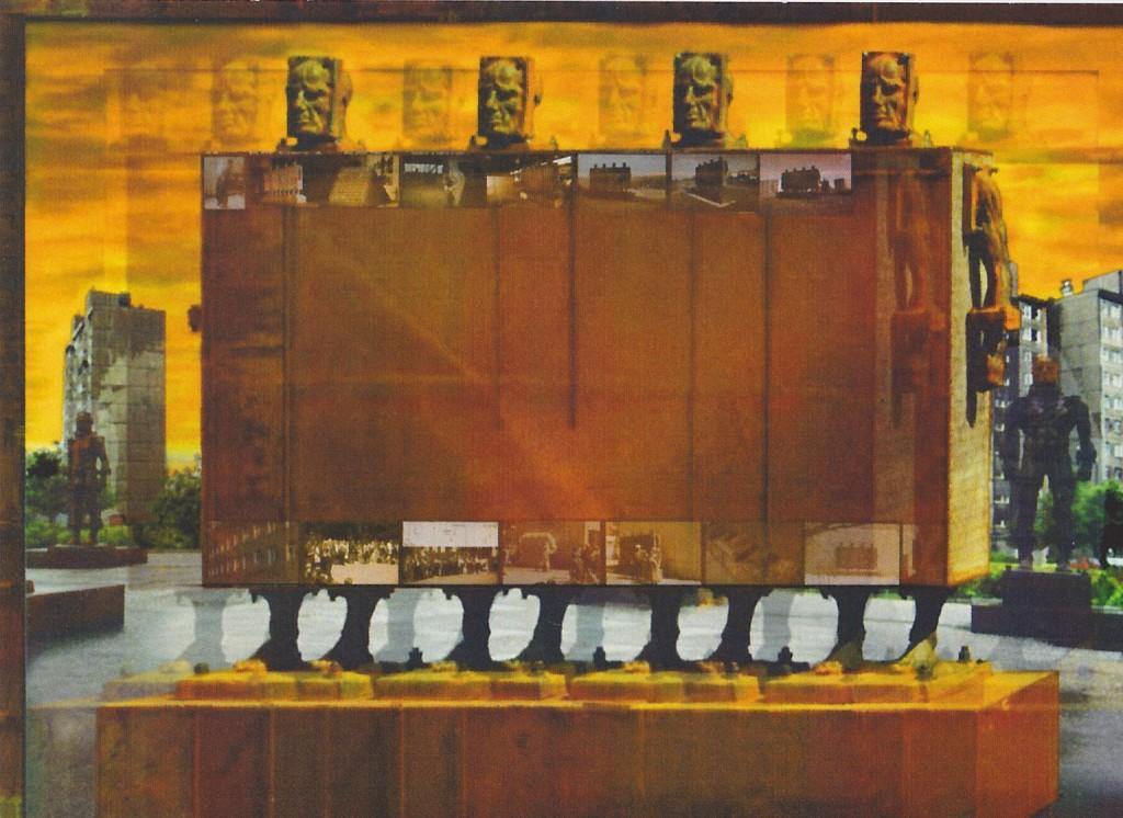 """Die Metallskulptur """"Wir vom XX. Jahrhundert"""" wurde auf dem internationalen Bildhauersymposion 1999 in Greiz/Thüringen geschaffen. Seit 2001 hat sie ihren Standort im Albert-Einstein-Gymnasium. (Staatl.Europaschule Berlin)"""